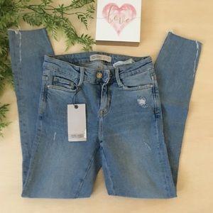 Zara Basic denim jeans with distressed hems size 2